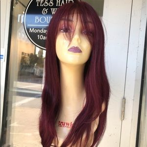 Accessories - Wig Burgundy Wine Lacefront Swisslace Bangs 2019